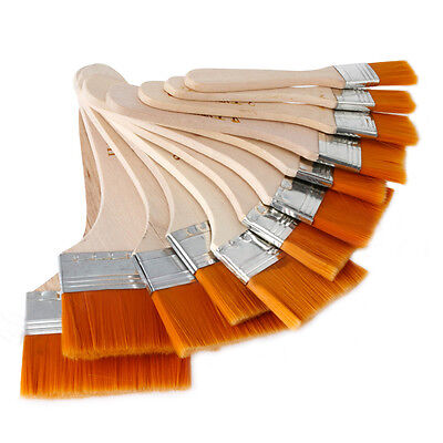 12x NEW Wooden Oil Painting Brushes Artist Acrylic Watercolor Paint Tool Set