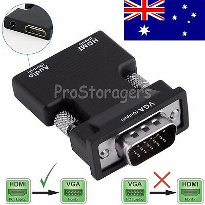 1080P HDMI Female to VGA Male Converter Video Adapter with 3.5mm Audio Output AU
