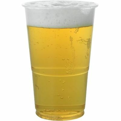 100 Clear Plastic Half Pint to Line Flexi-Glass Tumblers Disposable Beer Glasses