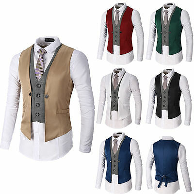 New Hot Men's Formal Business Suit Vest Slim Dress Casual Waistcoat Jacket Coat