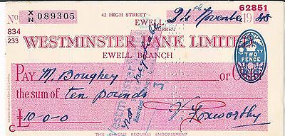 Westminster Bank Limited Ewell Branch 1948 Eighteen Shillings £10-0-0