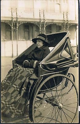 India? Rp Postcard Young Lady Well Wrapped Up In A Large Rickshaw C1920's