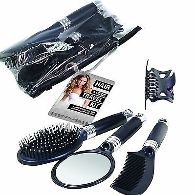 4pc Travel Assorted Paddle Hair Brush Comb Mirror Clip Zip Bag Set Beauty Kit