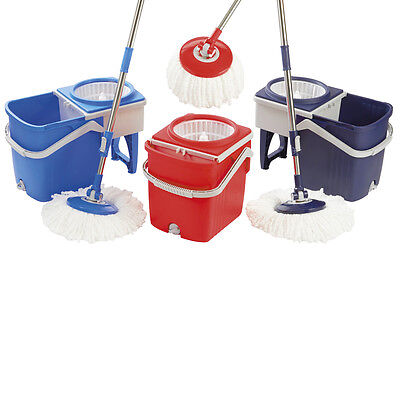 360 Rotating Spinning Spin Mop with 2 x Microfibre Heads and Folding Bucket Set