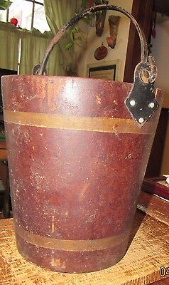 Antique fibre fire bucket with iron handle
