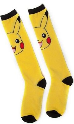 Official Pokemon Womens Pikachu Knee High Novelty Socks One Size | Yellow/Black