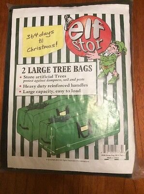 Elf Stor Bag for Christmas Tree Storage (2) LargeTree Bags - Green