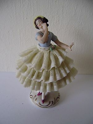 Dresden Lace Figurine Ballerina Antique Porcelain Vintage Germany Sitzendorf