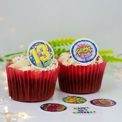 13th Birthday Mix 24 X Cupcake Cake Toppers Choice Of Wafer Paper Or Icing
