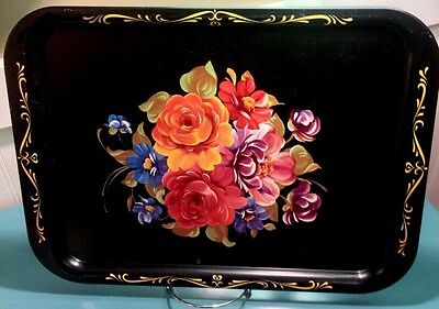 "Tole Serving Tray VTG Metal Platter 17"" Hand Painted Roses French Country Black"