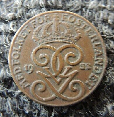 SWEDEN   1932    2 Ore     Extra Fine                   AWESOME  COIN