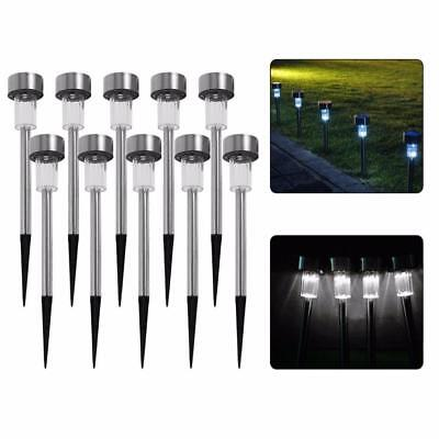 10 x STAINLESS STEEL SOLAR LIGHTS POWERED GARDEN POST PATH WHITE LED LAWN PATIO