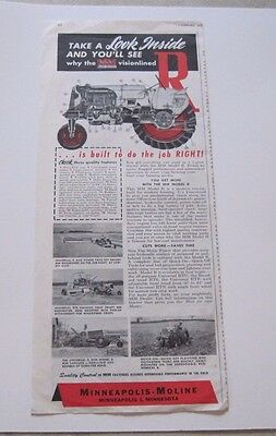"""1952 Minneapolis Moline Model """"R"""" Tractor large 1/2 page ad"""