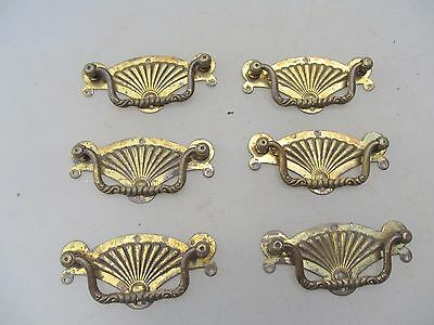Victorian Brass Drawer Handles Pulls Cabinet Hardware Antique Vintage Shell 1889