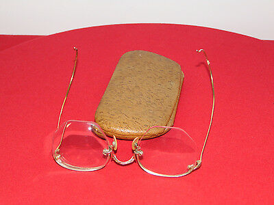 Vintage Wire Frame Half Rim Gold Eye Glasses  Spectacles With Case