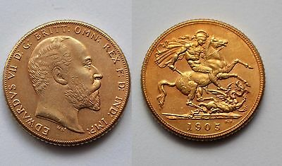 1905 24k GOLD PLATED King Edward VII Full Sovereign United Kingdom - COPY COIN