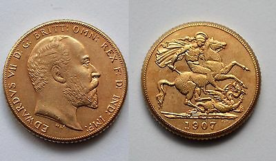 1907 24k GOLD PLATED King Edward VII Full Sovereign United Kingdom - COPY COIN