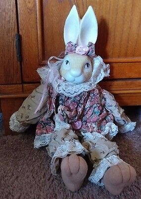 "Vintage 18"" Wendy Wabbit Porcelain Bisque Bunny Rabbit Doll House of Lloyd 1993"