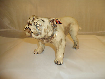 Vintage Scruffy Street Tough Ceramic Bulldog With Union Jack on His Back