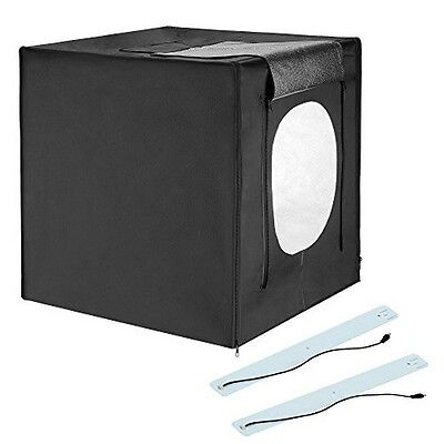 "Square Perfect  24"" LED Photo Studio In A Box w/4 Color Backdrops Pro Quality"
