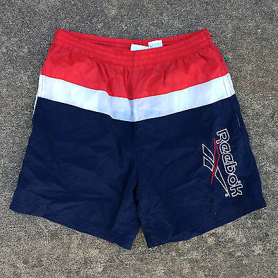 Vintage 80s 90s Reebok Athletic Nylon Sports Shorts Colorblock Running Soccer S
