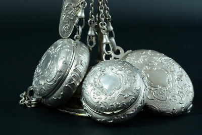 Antique EDWARDIAN SILVER STERLING CHATELAINE Charms Knife Powder Box Pill Miror