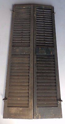 Pair Antique Window Wood Louvered Shutter Shabby Old Chic Vtg 62x13 466-17R