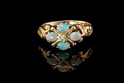 Antique Victorian Natural Opals Diamond 14K Gold Ring  (03251760)