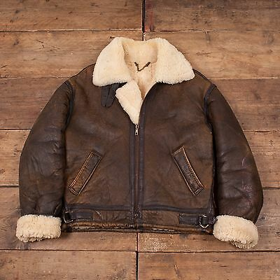"Mens Vintage B3 Sheepskin Shearling Fur Lined Leather Jacket Brown M 42"" R5443"