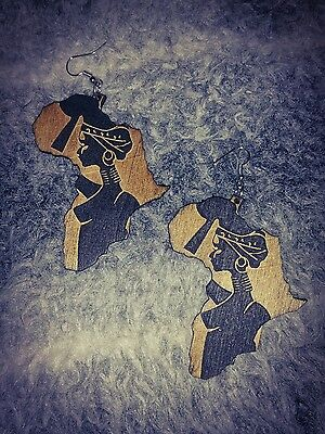 Africa Map Statement Beautiful Woman Art Stencil Wood Earrings