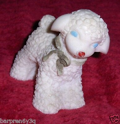 Vtg Hand Painted Porcelain Bisque Sheep Figurine Spaghetti White Lamb Statue BAH