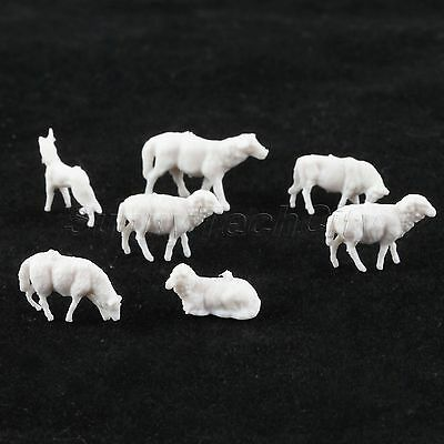 30pcs Unpainted Model Sheep Farm Animals For Train Scenery Kids Toy 1:87 Scale