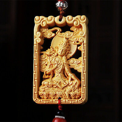 Hollow Out Wood Carved Chinese Green Tara Guan Kwan Yin Double Sides Car Pendant