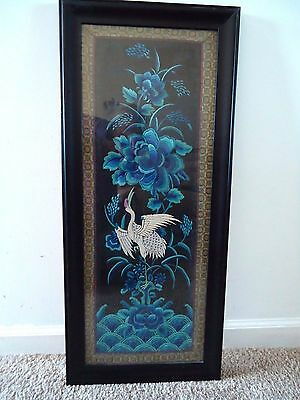AUTHENTIC Antique TAPESTRY of CHINA Framed Woven Vintage Art  Blues Bird Wall