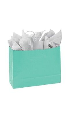 """Paper Shopping Bags 100 Turquoise Blue Retail Merchandise 16"""" x 6"""" x 12 ½"""""""
