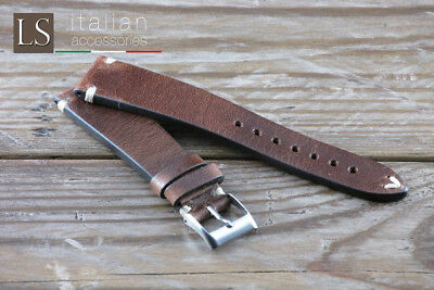 Cinturino in Pelle LS VACCHETTA VINTAGE 18 20 22 Watch Strap Band Brown Marrone