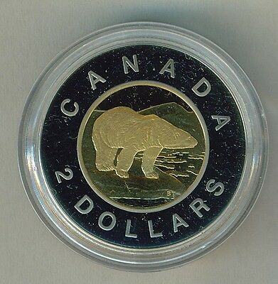 1996 Canada $2 Polar Bear bimetallic Proof box and COA - Royal Canadian Mint