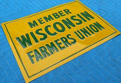 Vtg NOS WISCONSIN FARMERS UNION farm SIGN embossed ORIGINAL - GLOSSY, EXC. COND.