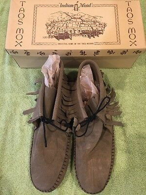 Women's TAOS Indian Brown Leather Moccasins Size 10*NEW* 2052 M Made in USA