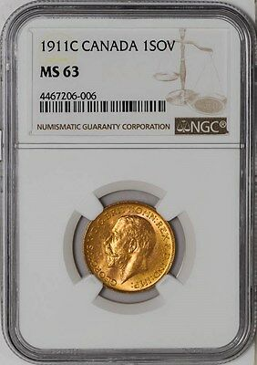 1911C Canada Sovereign MS63 NGC