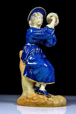 Antique Royal Worcester Tambourine Player Figurine Pat 1803 C.1895