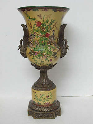 Old or Antique Chinese Export Huarong Tang Zhi Porcelain Vase w/ Bronze Swan Ear
