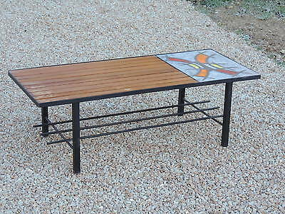 TABLE BASSE SCANDINAVE METAL CERAMIQUE MODERNISTE MJR VINTAGE COFFEE TABLE 60 's