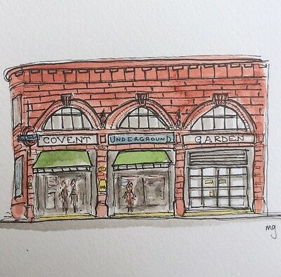 Original Art Watercolour Illustration Painting Covent Garden Tube Station 4x6 ""