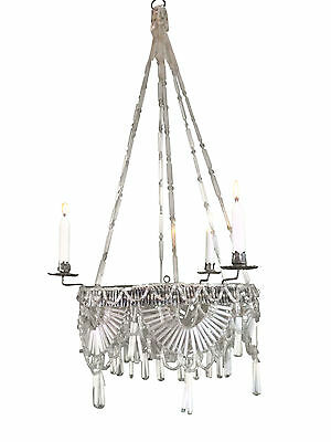 RARE Circa 1830 Biedermeier Classical Hanging Chandelier Glass Beads Handwoven