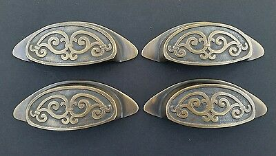 "4 Solid Antique Style, Brass Apothecary Bin Cup Finger Pulls Handles 4"" #A12"