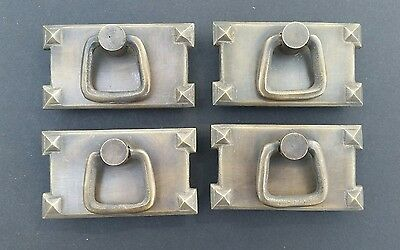 4 Mission Stickley antique style brass horizontal ring handles pulls #H26