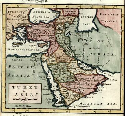 Arabian peninsula Middle East Turkish Empire 1701 Moll antique hand color map