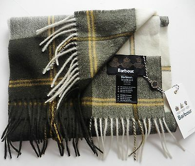 UNISEX SCARF BARBOUR  MADE IN UK lambswool cashmere sage green tartan NEW TAGS
