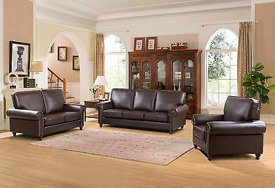 Contemporary Design Coffee Color Sofa, Loveseat & Chair Living Room 3pc Sofa Set